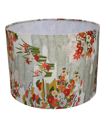 Red floral ikat lampshade
