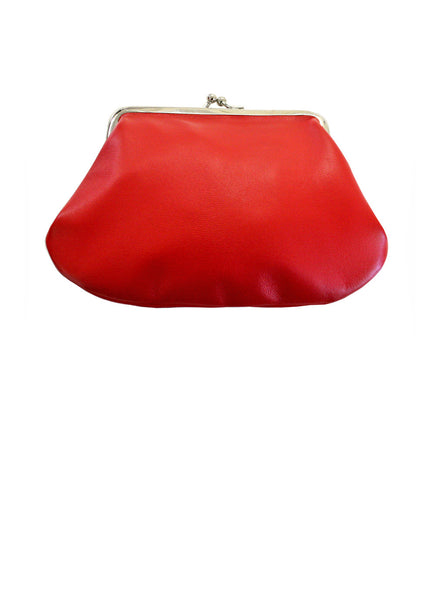 Red Leather Clip Purse