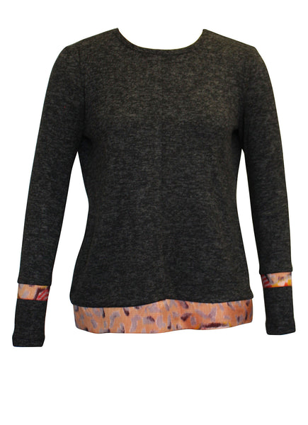 Grey Long Sleeve Top with Kimono trims