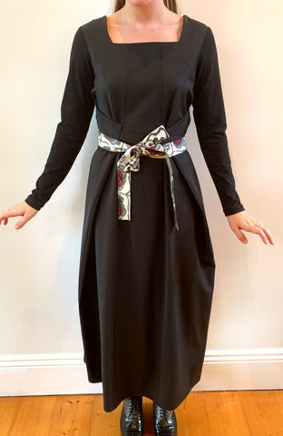 Black Wool Apron Dress with Sleeves D 297