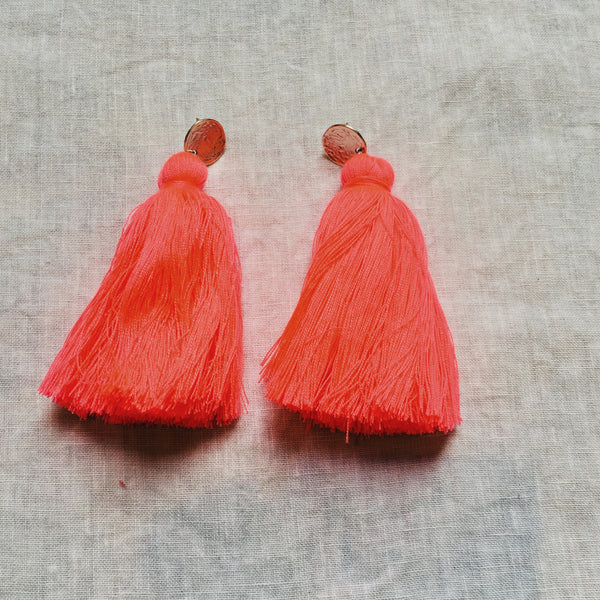 Long Tassel Earrings- Bright Coral