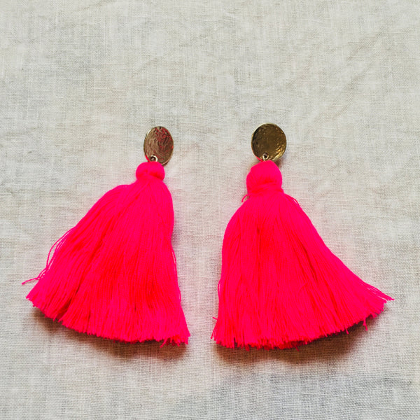 Tassel Earrings - Hot Pink