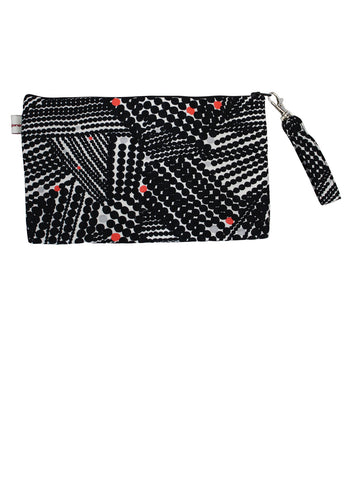 Black Flowers Zip Up Purse