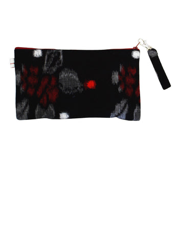 Reds Leopard on a Lotus Embroidered Clip Purse