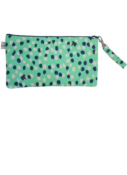 Green Dots Zip Up Purse