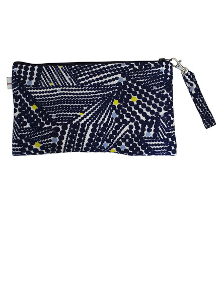 Navy Shibori Zip Up Purse