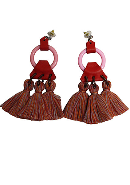 Circle Pom Pom Leather Earrings