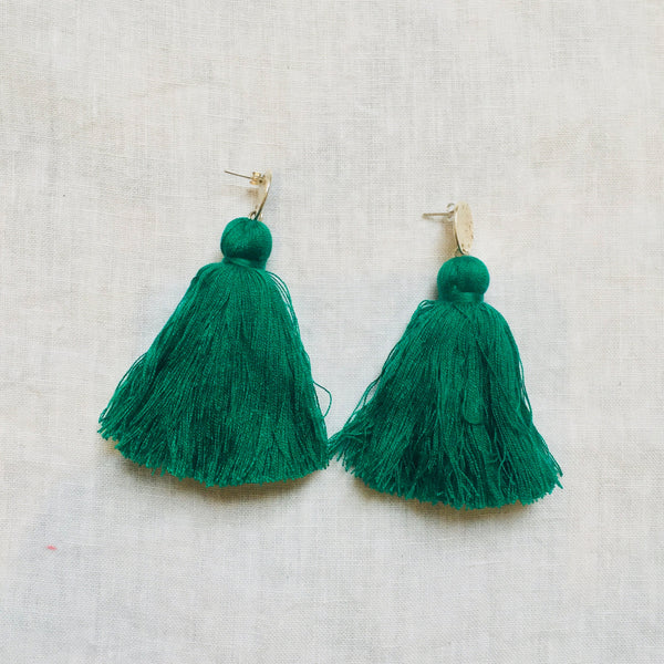 Tassel Earrings - Emerald Green