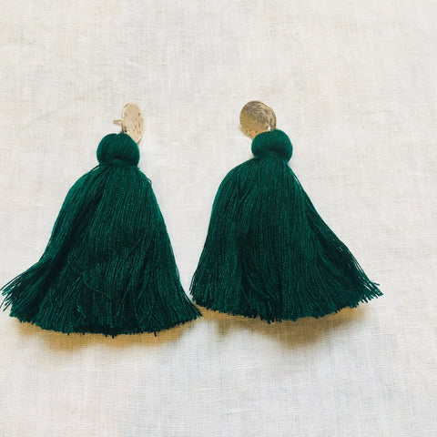 Tassel Earrings - Forest Green