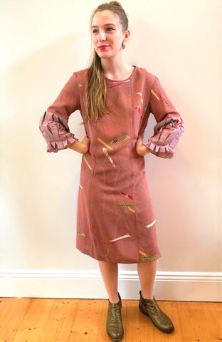 Akai Vintage Kimono Pleat Sleeve Dress D294