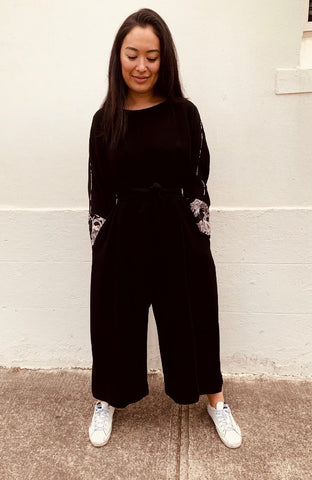 Long sleeved Jumpsuit with Floral Cuff J002