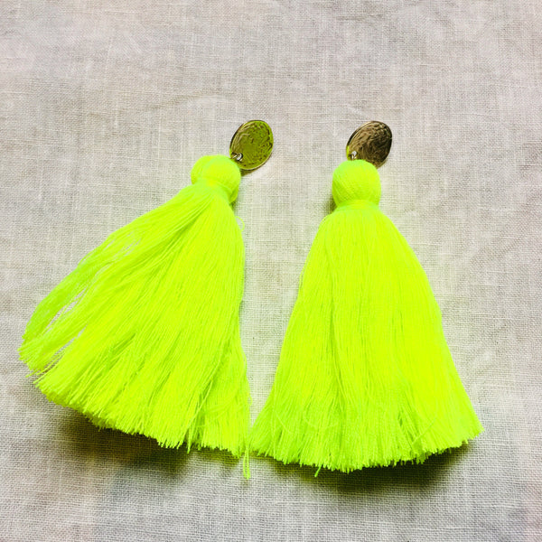 Long Tassel Earrings  - Neon Yellow