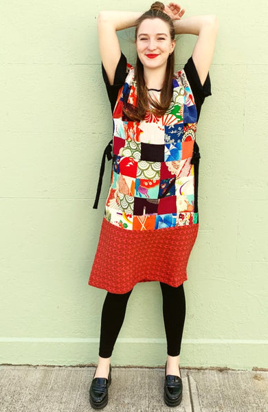 Patchwork Tunic Dress Red D256