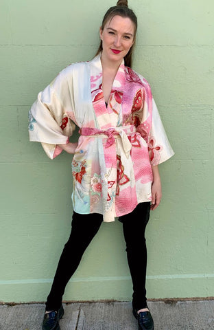 Short Kimono Pink Butterfly