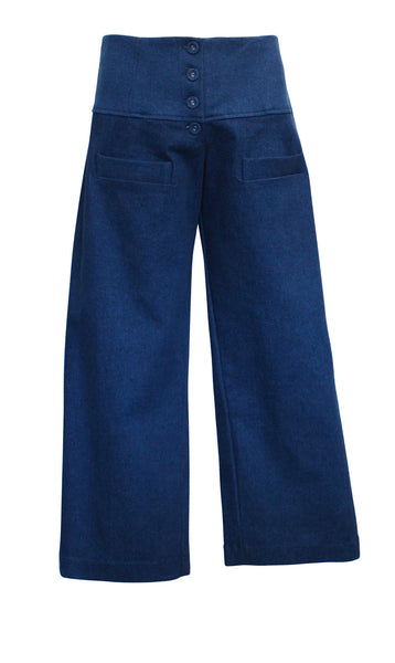 Wide Denim 7/8 Pants