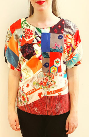 Patchwork Top Raglan sleeve T819