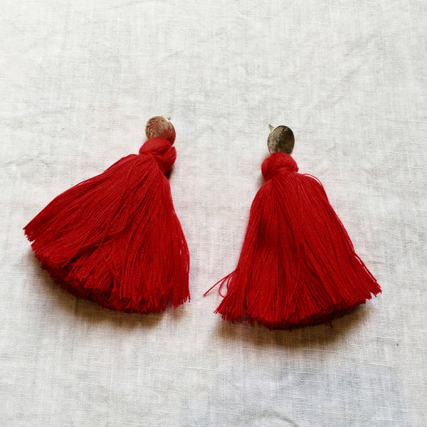 Long Tassel Earrings - Red Hot