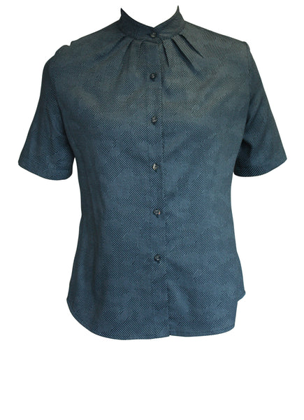Teal Pleated Mandarin Collar Shirt