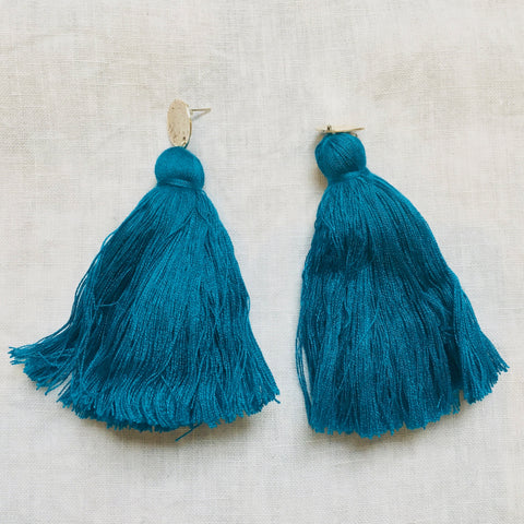 Long Tassel Earrings - Turquoise
