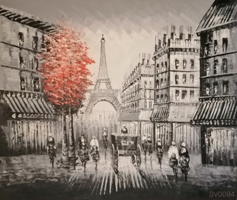 Paris Street with a Red Tree - HS3990