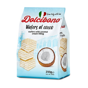 Dolcibono Premium Wafer Cookies, Coconut Cream Filled (80% Cream), Imported from Italy, All Natural, Non-GMO, Fresh Baked, Bite Sized Snacks - 8.8oz (250g)