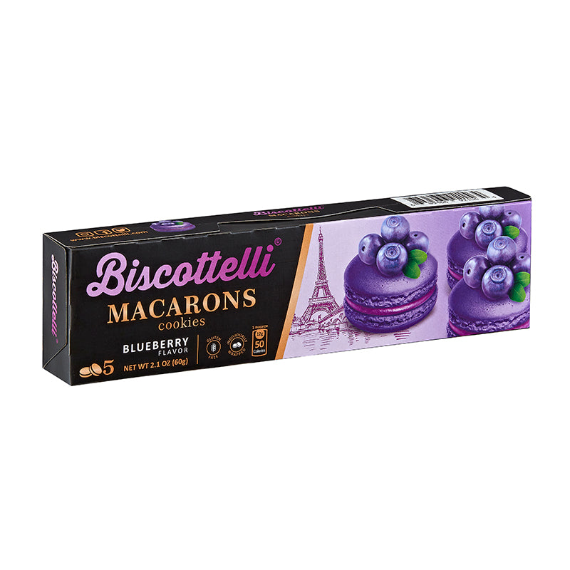 Biscottelli Macaron Cookies (Blueberry) - Gluten Free, 5 Individually Wrapped, Shelf Stable Baked Gourmet Cookies made with a French Recipe
