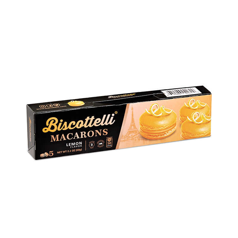Biscottelli Macaron Cookies (Lemon) - Gluten Free, 5 Individually Wrapped, Shelf Stable Baked Gourmet Cookies made with a French Recipe
