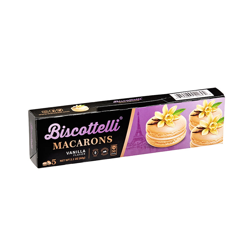 Biscottelli Macaron Cookies (Vanilla) - Gluten Free, 5 Individually Wrapped, Shelf Stable Baked Gourmet Cookies made with a French Recipe