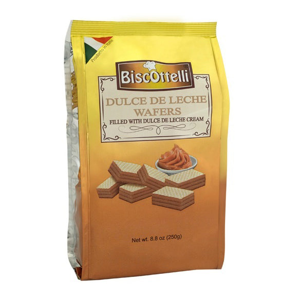 Biscottelli Wafer Cookies, Dulce De Leche (Caramel) Cream Filled, Imported from Italy, All Natural, Non-GMO, Fresh Baked, Bite Sized Snacks (8.8oz bag)