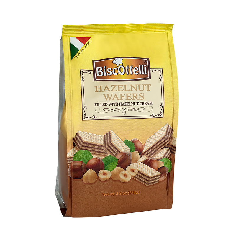 Biscottelli Wafer Cookies, Hazelnut Cream Filled, Imported from Italy, All Natural, Non-GMO, Fresh Baked, Bite Sized Snacks (8.8oz bag)