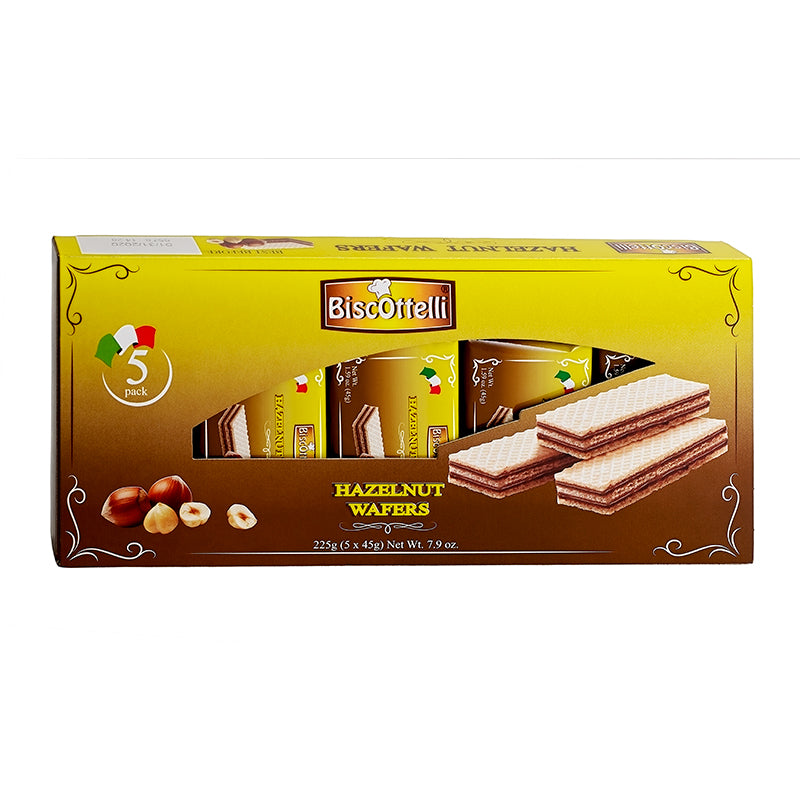 Biscottelli Hazelnut Wafers Filled With Hazelnut Cream 5-pack Holder - 7.9 oz (225g)