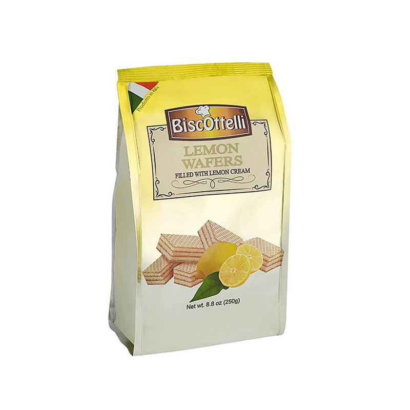 Biscottelli Wafer Cookies, Lemon Cream Filled, Imported from Italy, All Natural, Non-GMO, Fresh Baked, Bite Sized Snacks (8.8oz bag)