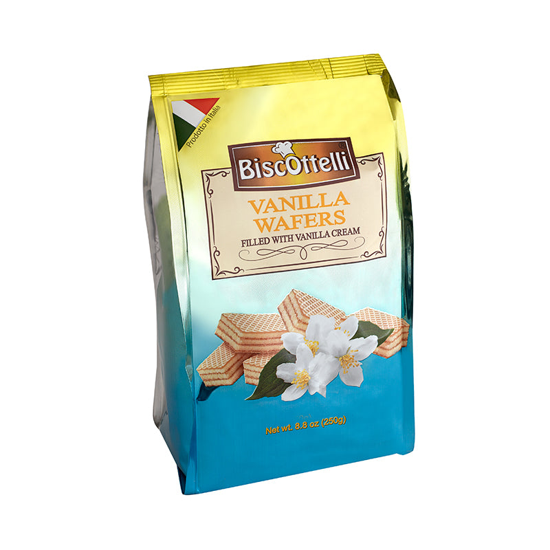 Biscottelli Wafer Cookies, Vanilla Cream Filled, Imported from Italy, All Natural, Non-GMO, Fresh Baked, Bite Sized Snacks (8.8oz bag)