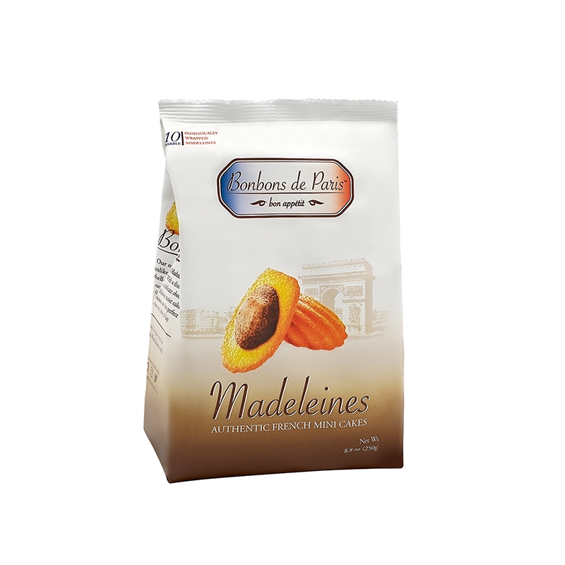 Bonbons de Paris Madeleine Cookies, Authentic French Mini Cakes, Traditional Marble French Sponge Cake, Imported from France, All Natural, Non-GMO, Fresh Baked, Individually Wrapped (8.8oz bag