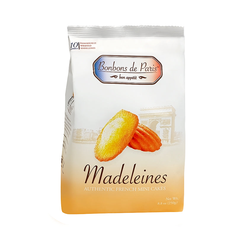 Bonbons de Paris Madeleine Cookies, Authentic French Mini Cakes, Traditional Plain French Sponge Cake, Imported from France, All Natural, Non-GMO, Fresh Baked, Individually Wrapped (8.8oz bag)