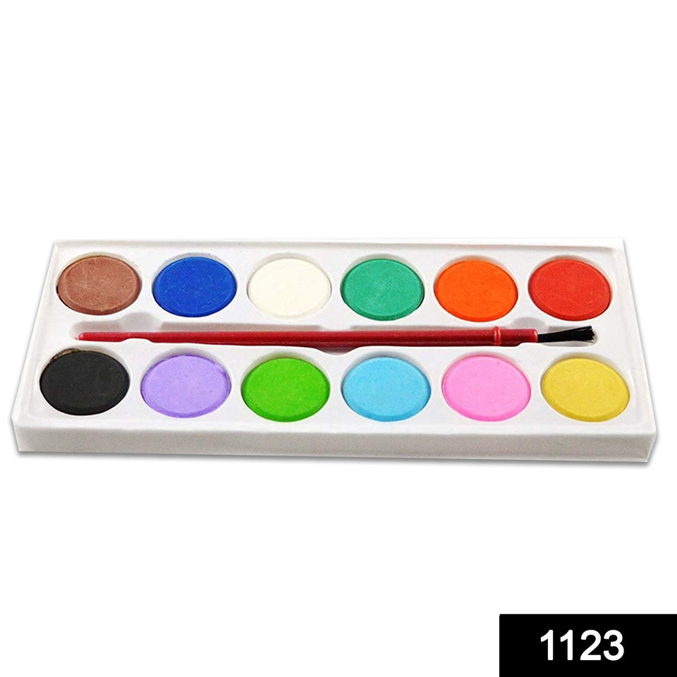 1123 Painting Water Color Kit - 12 Shades and Paint Brush (13 Pcs) - DeoDap