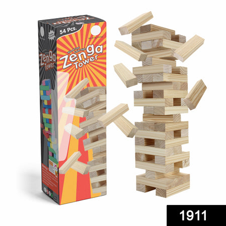 1911 54 Pcs Blocks 4 Dices Wooden Tumbling Stacking Building - DeoDap