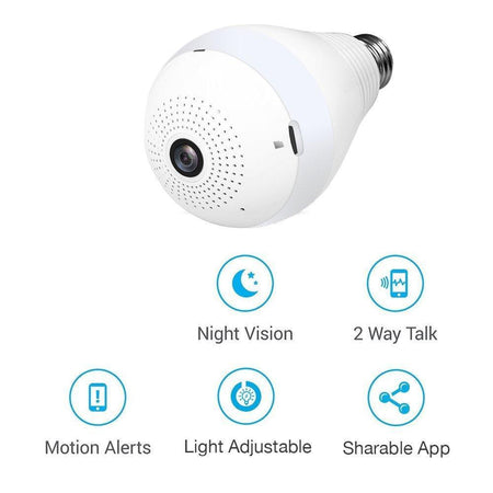0323 Panoramic Camera Light Bulb (WiFi Wireless Smart spy Bulb) - Bulkysellers.com