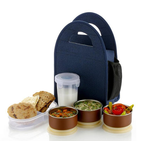 0128 Steel Lunch Box Set (5 pcs, Black) - Bulkysellers.com