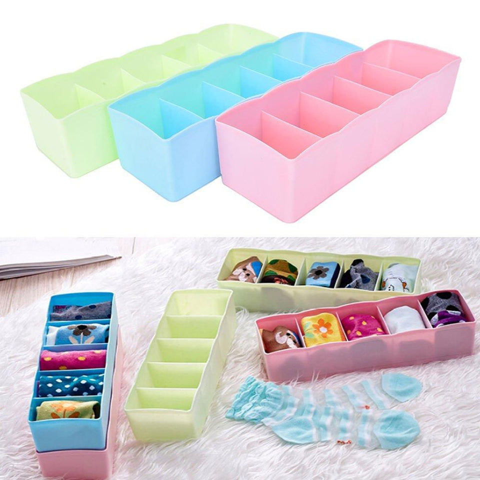 0235 5-Compartments Socks/Handkerchief/Underwear Storage Box Socks Drawer Closet Organizer Storage Boxes (pack of 2) - Bulkysellers.com
