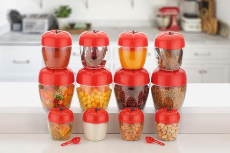 2274 Air Tight Apple Shape Storage Container - 500 ml, 800 ml and 1500 ml (4 Pcs Each Size, 12 Pcs)