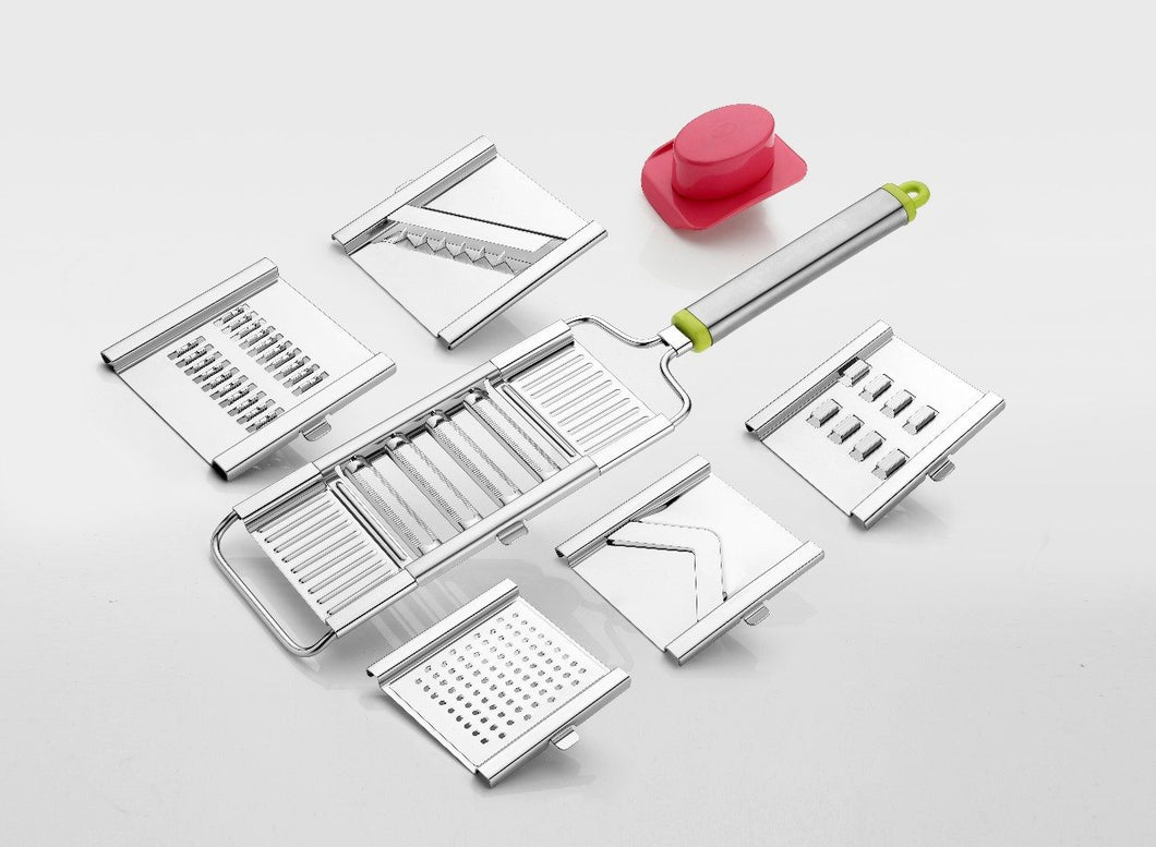 2142 6 in 1 Stainless Steel Kitchen Chips Chopper Cutter Slicer and Grater with Handle - Bulkysellers.com