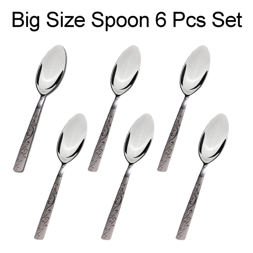 7004 Stainless Steel Big Spoon for Home/Kitchen (Set of 6 Pcs)