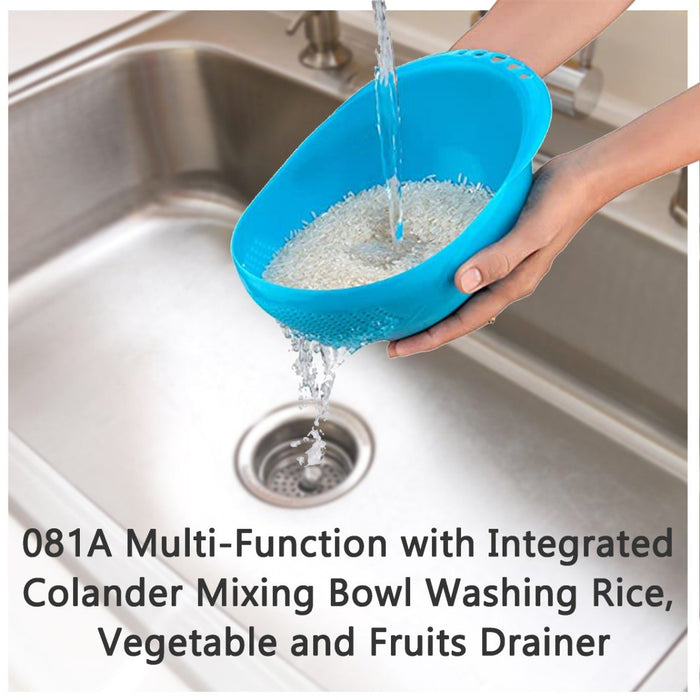 0081A Multi-Function with Integrated Colander Mixing Bowl Washing Rice, Vegetable and Fruits Drainer Bowl-Size: 21x17x8.5cm - DeoDap