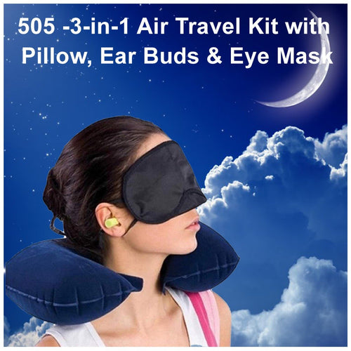 0505 -3-in-1 Air Travel Kit with Pillow, Ear Buds & Eye Mask - DeoDap