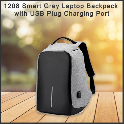 1208 Smart Grey Laptop Backpack with USB Plug Charging Port - Bulkysellers.com