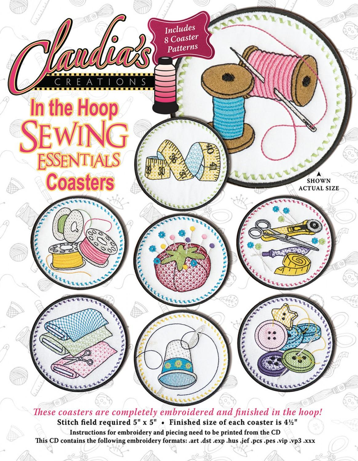In the Hoop Sewing Coasters Design CD