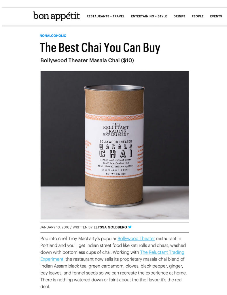 Best Chai to Buy Bon Appetit Bollywood Theater
