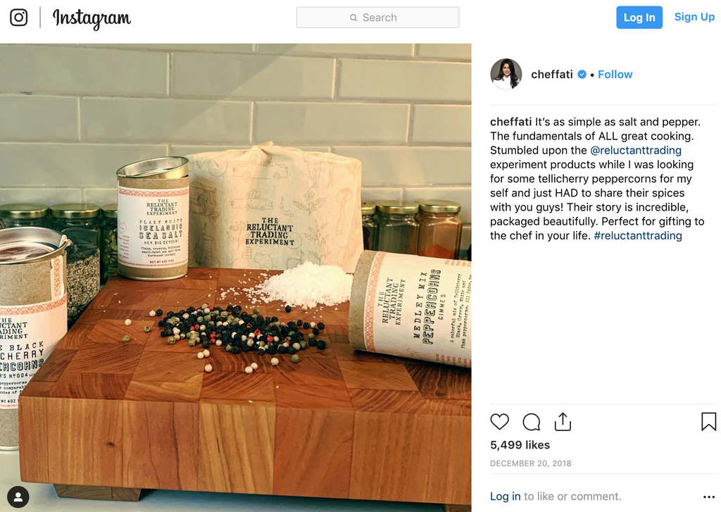 Chef Fatima Ali's Post for Reluctant Trading