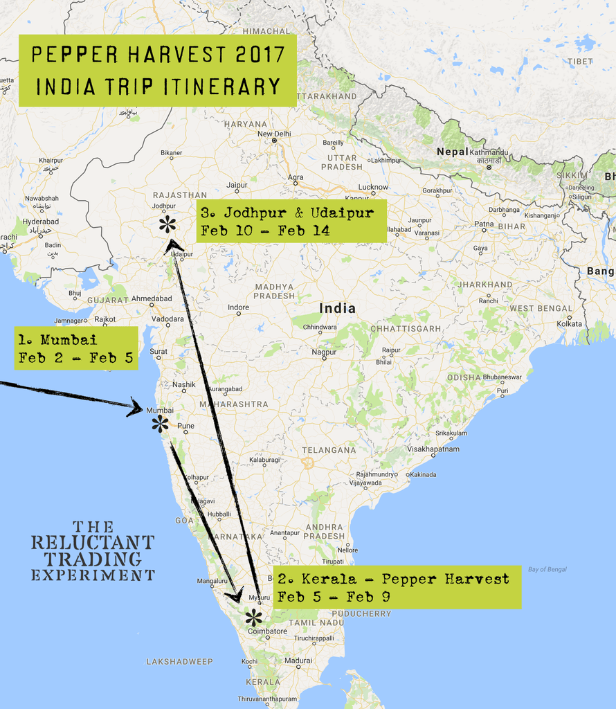 India Pepper Harvest Itinerary 2017